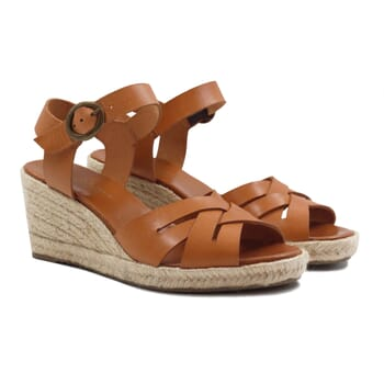 sandales compensees retro cuir camel jules & jenn