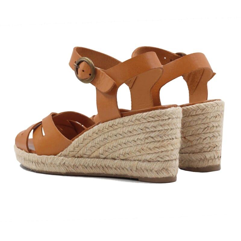 vue arriere sandales compensees retro cuir camel jules & jenn