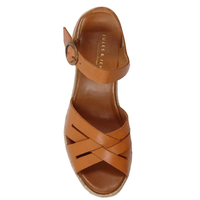 vue dessus sandales compensees retro cuir camel jules & jenn