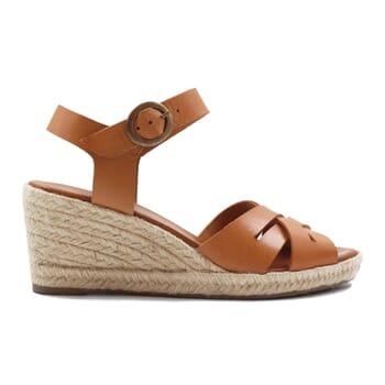 vue exterieur sandales compensees retro cuir camel jules & jenn