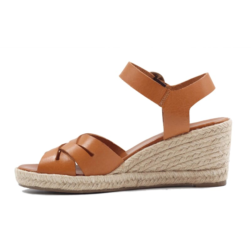 vue interieur sandales compensees retro cuir camel jules & jenn