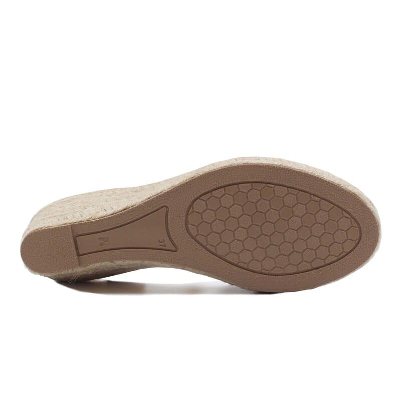 vue dessous sandales compensees retro cuir camel jules & jenn