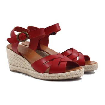 sandales compensees retro cuir rouge jules & jenn