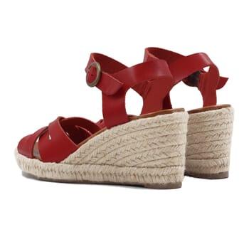 vue arriere sandales compensees retro cuir rouge jules & jenn