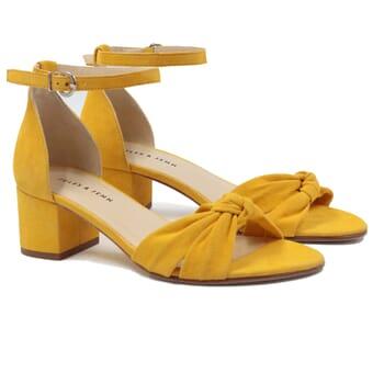 sandales nœud cuir daim jaune jules & jenn
