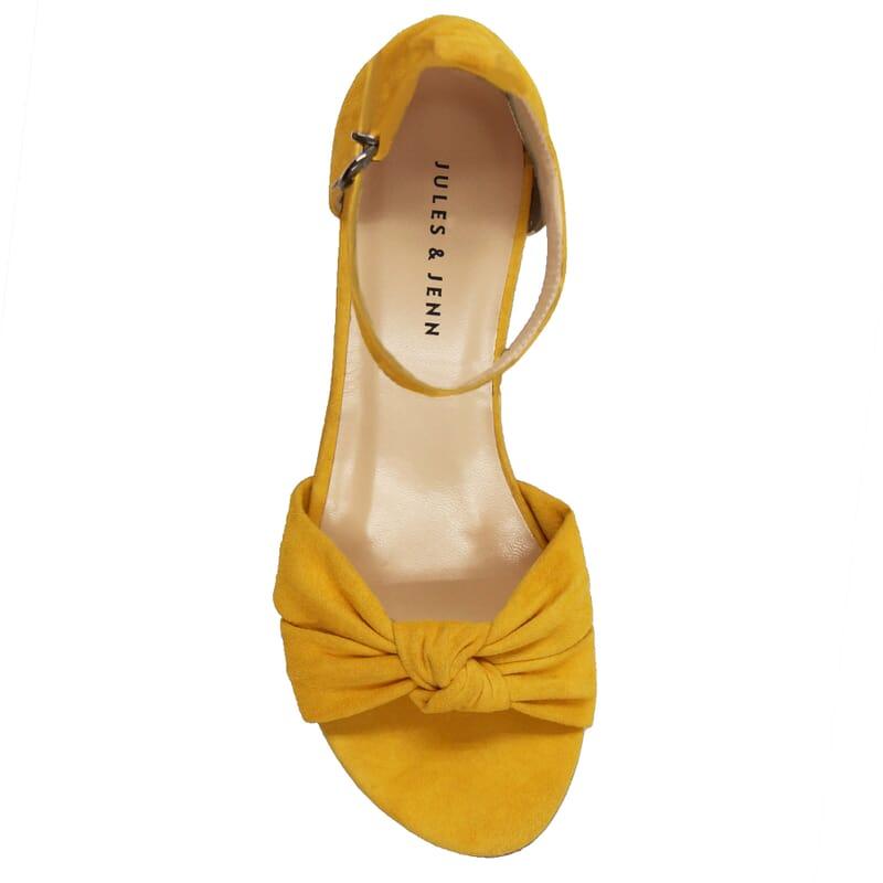 vue dessus sandales nœud cuir daim jaune jules & jenn