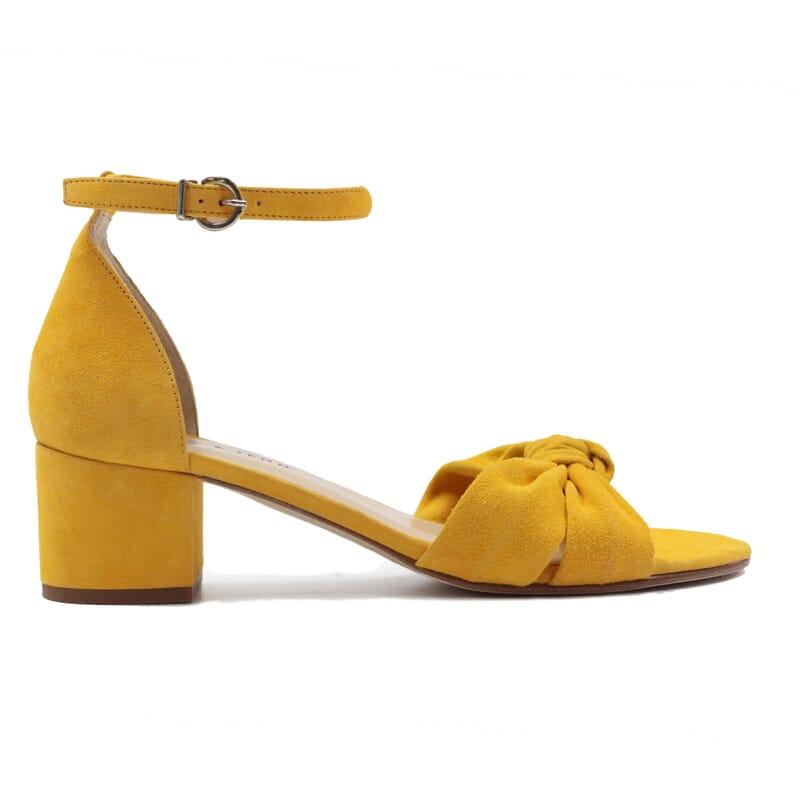 vue exterieur sandales nœud cuir daim jaune jules & jenn