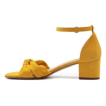 vue interieur sandales nœud cuir daim jaune jules & jenn