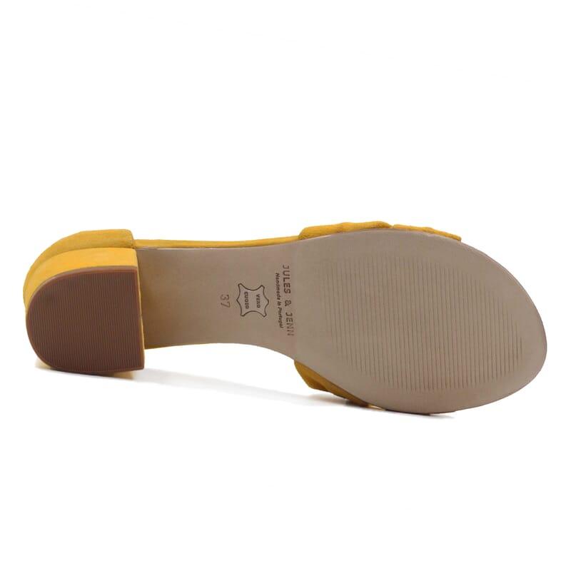 vue dessous sandales nœud cuir daim jaune jules & jenn