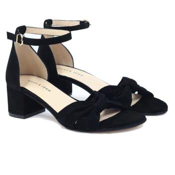 sandales nœud cuir daim noir jules & jenn
