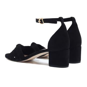 vue arriere sandales nœud cuir daim noir jules & jenn
