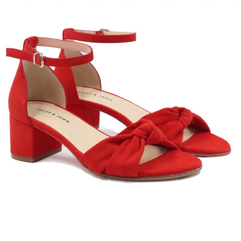 sandales nœud cuir daim rouge jules & jenn