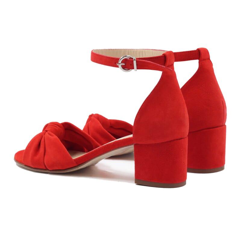 vue arriere sandales nœud cuir daim rouge jules & jenn