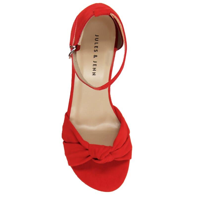 vue dessus sandales nœud cuir daim rouge jules & jenn