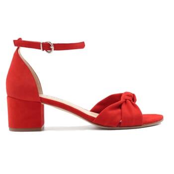 vue exterieur sandales nœud cuir daim rouge jules & jenn