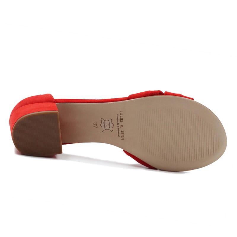 vue dessous sandales nœud cuir daim rouge jules & jenn