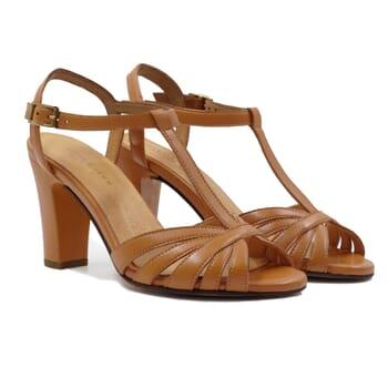 sandales talon brides cuir camel jules & jenn