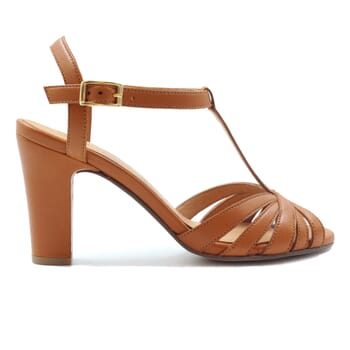 vue exterieur sandales talon brides cuir camel jules & jenn
