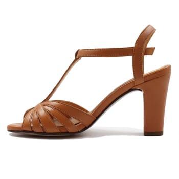 vue interieur sandales talon brides cuir camel jules & jenn