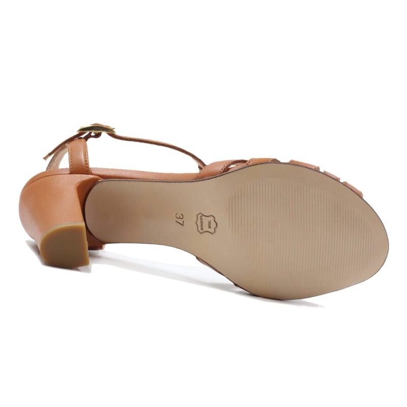 vue dessous sandales talon brides cuir camel jules & jenn