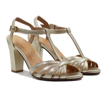 sandales talon brides cuir metallise dore jules & jenn