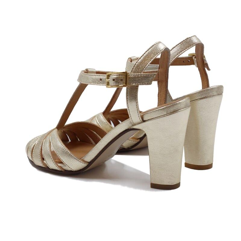vue arriere sandales talon brides cuir metallise dore jules & jenn