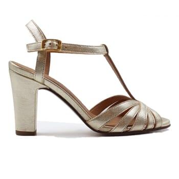 vue exterieur sandales talon brides cuir metallise dore jules & jenn