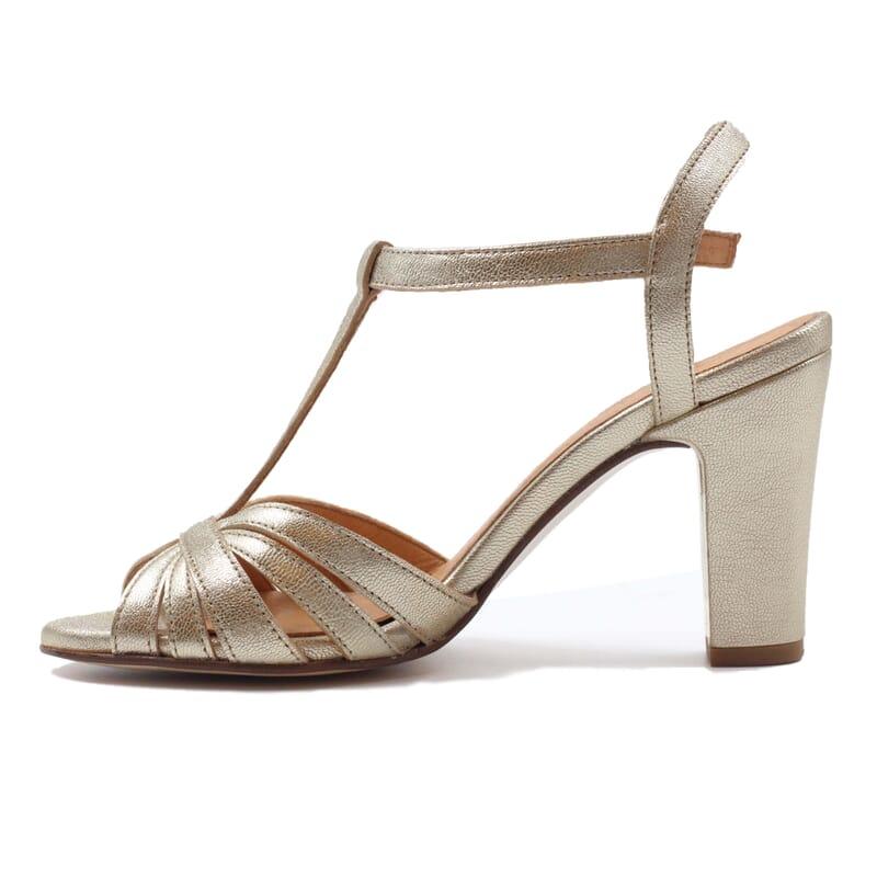 vue interieur sandales talon brides cuir metallise dore jules & jenn