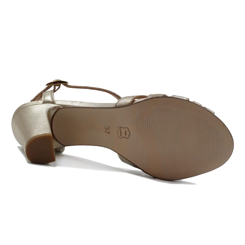 vue dessous sandales talon brides cuir metallise dore jules & jenn