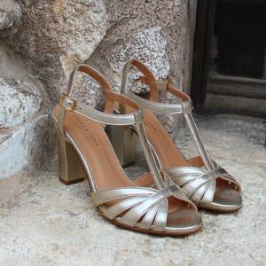 vue posee sandales talon brides cuir metallise dore jules & jenn