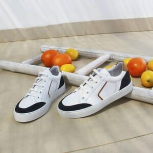vue posee baskets retro femme cuir blanc & bleu jules & jenn