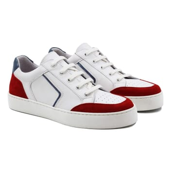 baskets retro femme cuir blanc & rouge jules & jenn