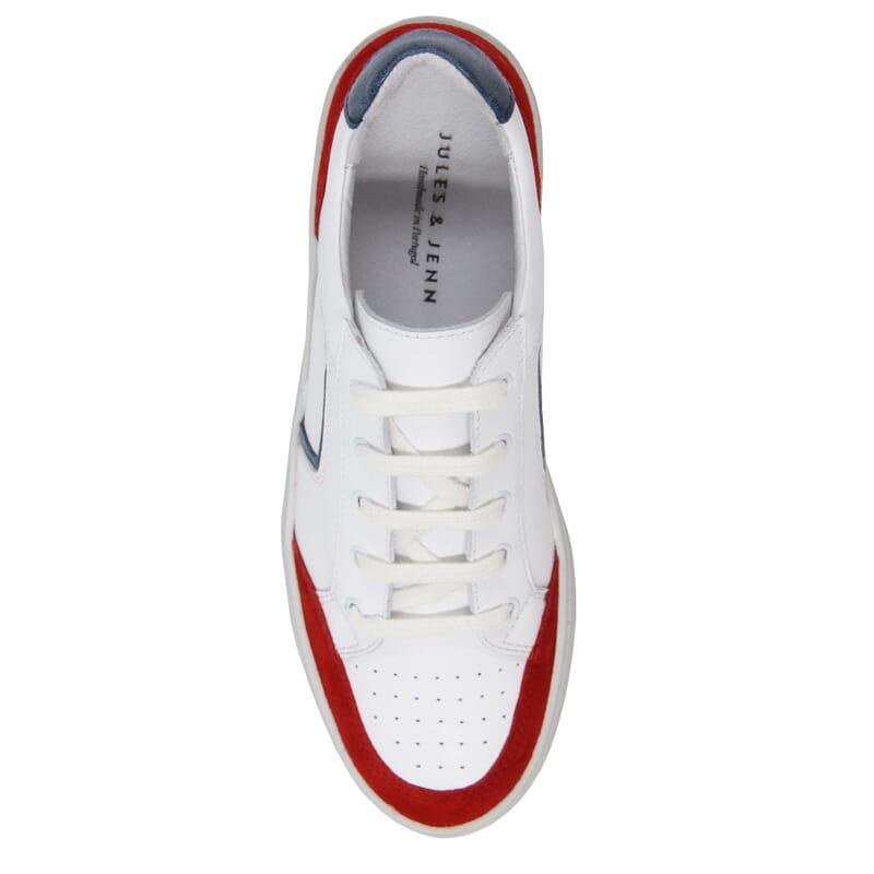 vue dessus baskets retro femme cuir blanc & rouge jules & jenn