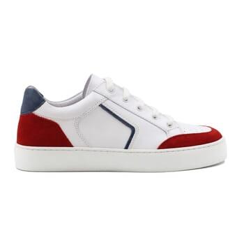 vue exterieur baskets retro femme cuir blanc & rouge jules & jenn