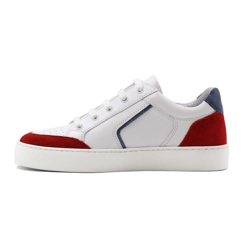 vue interieur baskets retro femme cuir blanc & rouge jules & jenn