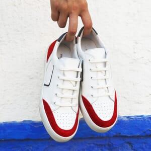 vue posee baskets retro femme cuir blanc & rouge jules & jenn