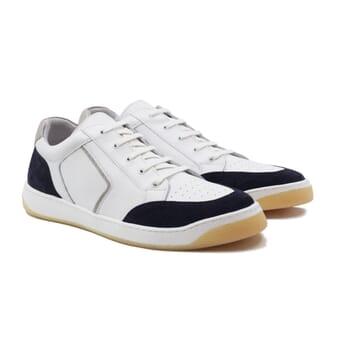 baskets retro homme cuir blanc & bleu jules & jenn