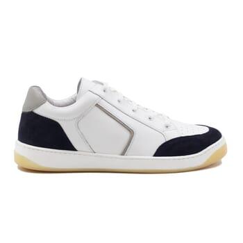 vue exterieur baskets retro homme cuir blanc & bleu jules & jenn