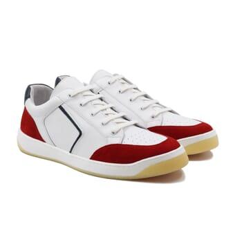 baskets retro homme cuir blanc & rouge jules & jenn
