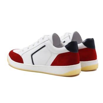 vue arriere baskets retro homme cuir blanc & rouge jules & jenn