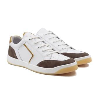baskets retro homme cuir blanc & taupe jules & jenn