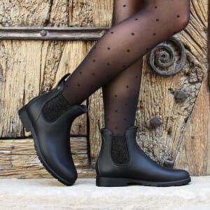 vue portee bottines de pluie caoutchouc noir argente jules & jenn