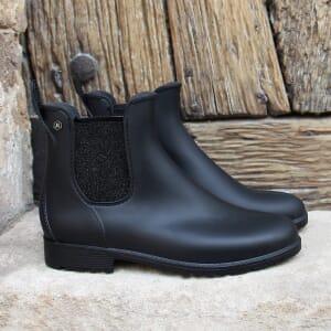 vue posee bottines de pluie caoutchouc noir argente jules & jenn
