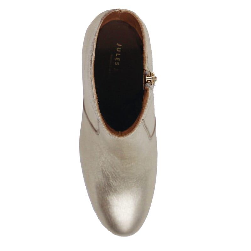 vue dessus bottines talon essentielles cuir metallise dore