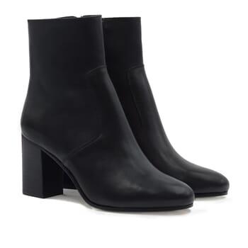 bottines talon essentielles cuir noir