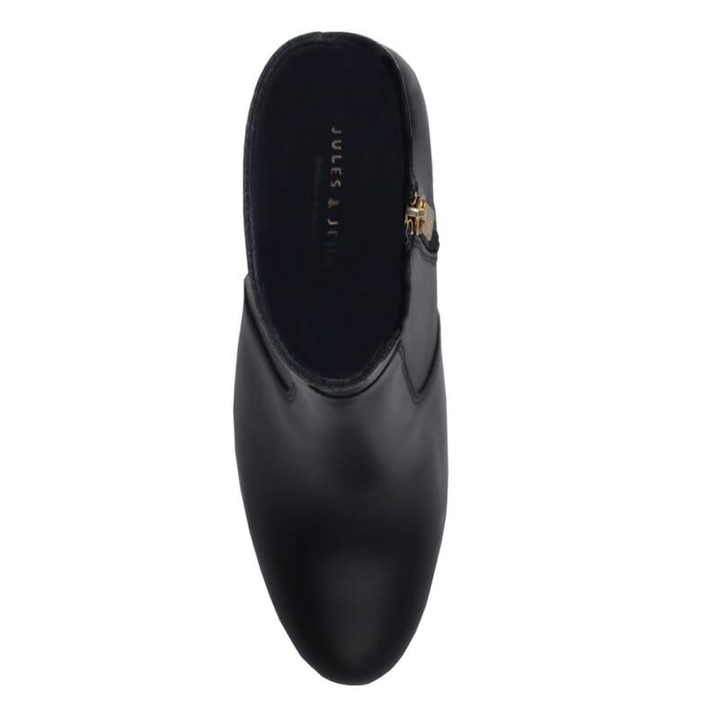 vue dessus bottines talon essentielles cuir noir