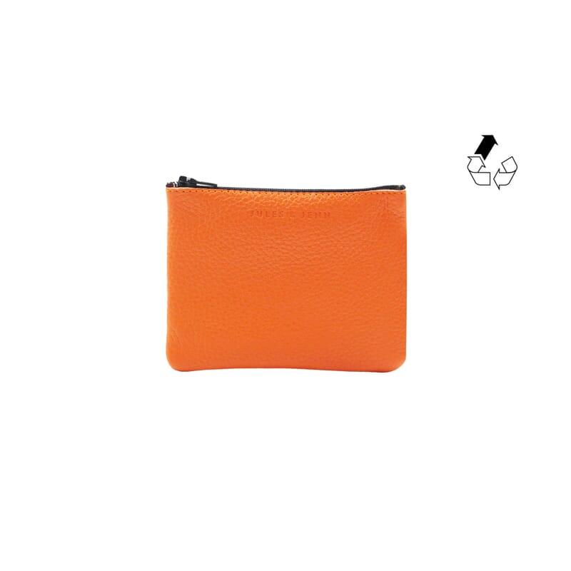 pochette cuir graine upcycle orange petit modele jules & jenn