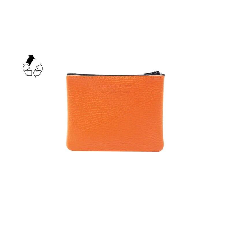 vue arriere pochette cuir graine upcycle orange petit modele jules & jenn