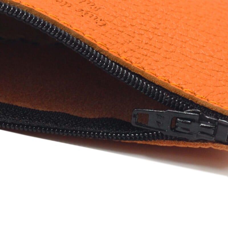 vue interieur pochette cuir graine upcycle orange petit modele jules & jenn