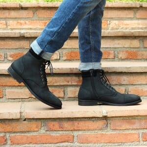vue portee ranger boots col cuir nubuck noir jules & jenn